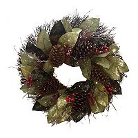 St. Nicholas Square® Artificial Magnolia Leaf & Pine Cone Wreath