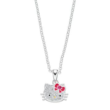 Kids' Hello Kitty® Silver Plated Crystal Pendant