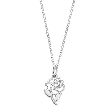 Disney's Beauty and the Beast Kids' Sterling Silver Rose Pendant
