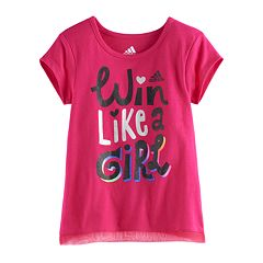 Toddler Girl adidas 'Win Like A Girl' Criss-Cross Back Tee