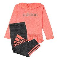 Baby Girl adidas Asymmetrical Hooded Tee & Melange Stripe Leggings Set