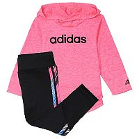 Baby Girl adidas Hooded Tee & Melange Stripe Leggings Set