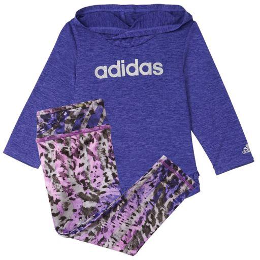 Baby Girl adidas Melange Hooded Tee & Patterned Leggings Set