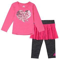 Baby Girl adidas 'All Heart' Foil Tee & Skort Leggings Set