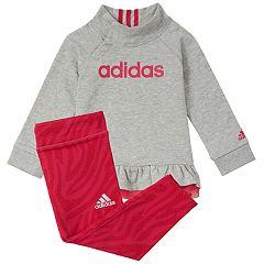 Baby Girl adidas Mockneck Ruffle Hem Pullover & Leggings Set