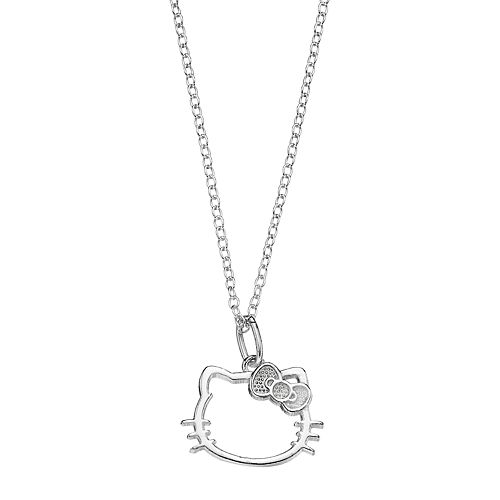 Kids' Hello Kitty® Silver Plated Openwork Pendant
