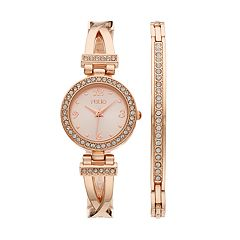 Folio Women's Crystal Crisscross Half-Bangle Watch & Bracelet Set