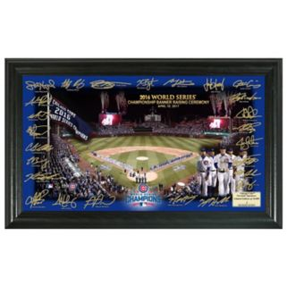 """Highland Mint Chicago Cubs 2016 World Series Champions Banner Raising 12"""" x 20"""" Framed Photo"""