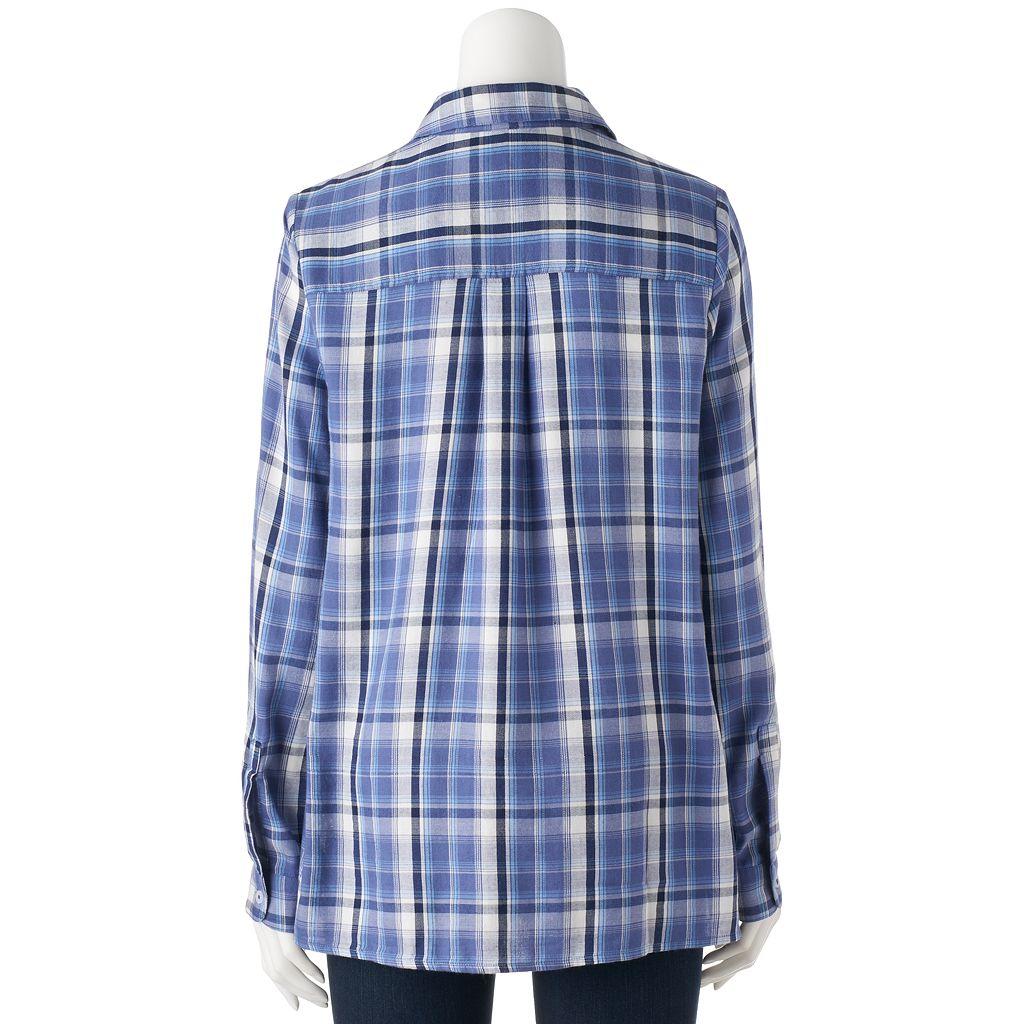 Juniors' SO® Plaid High-Low Shirt