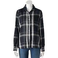Juniors' SO® Plaid High-Low Shirt