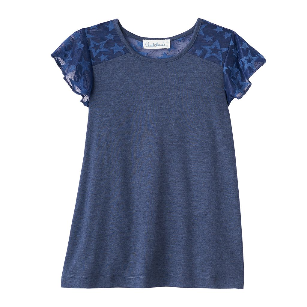 Girls 7-16 Cloud Chaser Patterned Flutter Sleeve Tee