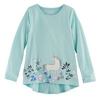 Girls 4-10 Jumping Beans® Floral & Unicorn Ruffle Top