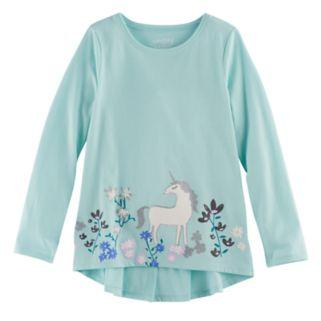 Girls 4-10 Jumping Beans® Floral & Unicorn Ruffle Top