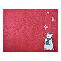 Red Snowman Cable Knit Placemat