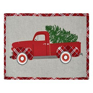 Vintage Red Truck Christmas Placemats.St Nicholas Square Red Truck Placemat