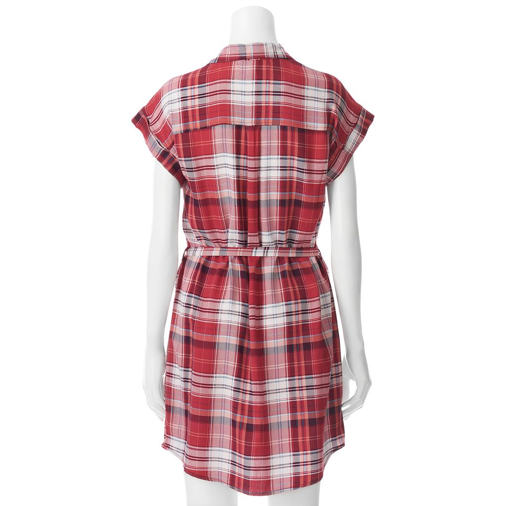 Juniors' Almost Famous Plaid Shirt Dress