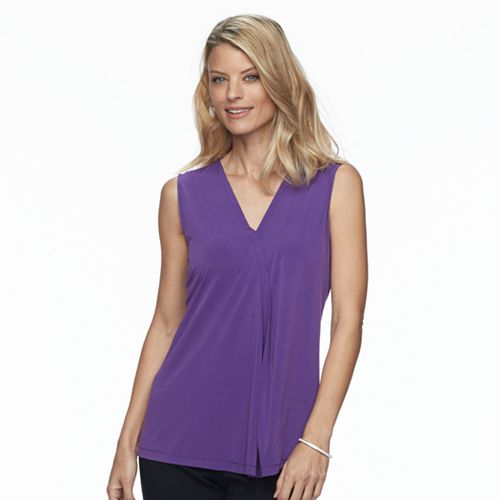 Petite Dana Buchman Pleated V-Neck Tank