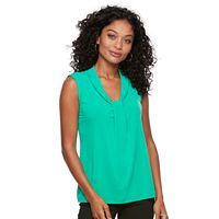 Petite Dana Buchman Sleeveless Knotted V-Neck Top