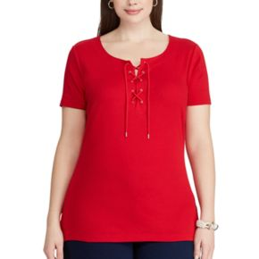 Plus Size Chaps Lace-Up Tee