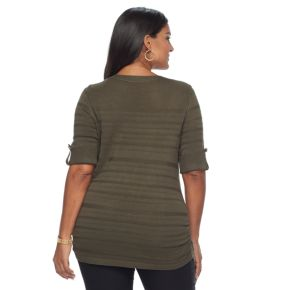 Plus Size Apt. 9® Shadow-Stripe Ruched Sweater