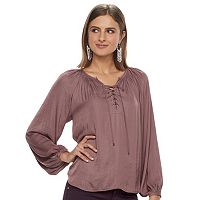 Women's Jennifer Lopez Lace-Up Peasant Blouse