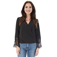 Juniors' IZ Byer California Lace Faux-Wrap Top