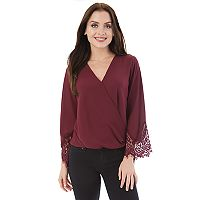 Juniors' IZ Byer Lace Faux-Wrap Top