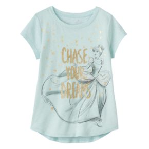 """Disney's Cinderella Girls 4-10 """"Chase Your Dreams"""" Shirttail Tee"""