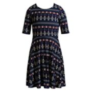 Girls 7-16 & Plus Size Emily West Patterned Reversible Knit Dress