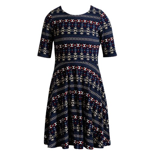 Girls 7-16 & Plus Size Emily West Patterned Reversible Knit Dress