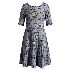 Girls 7-16 & Plus Size Emily West Emoji & Polka-Dot Pattern Reversible Dress