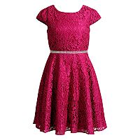 Girls 7-16 Emily West Crocheted Glitter Rhinestone Waist Dress