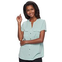 Women's Croft & Barrow® Knit Button-Front Shirt