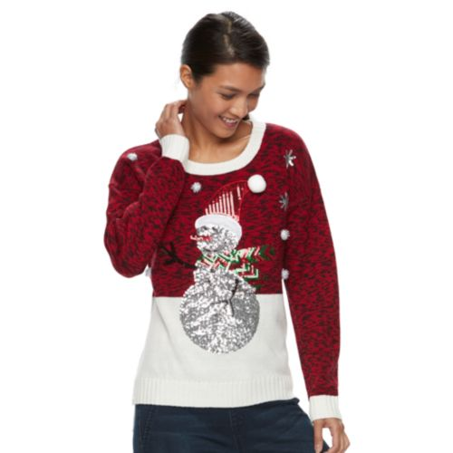 Womens Embellished Christmas Sweater