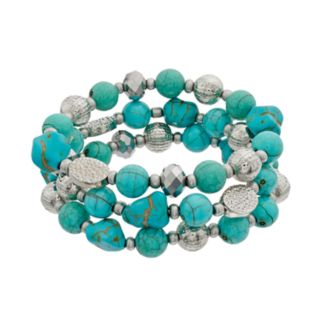 Simulated Turquoise Bead Stretch Bracelet Set