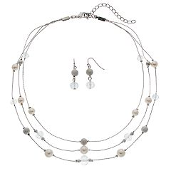 Beaded Multi Strand Station Necklace & Linear Earring Set