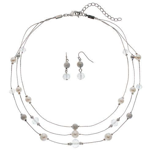 Beaded Multi Strand Station Necklace & Linear Earring Set