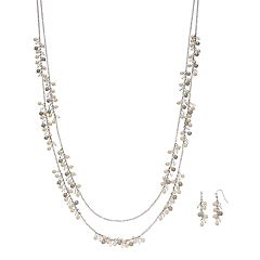 Long Shaky Bead Double Strand Necklace & Linear Earring Set