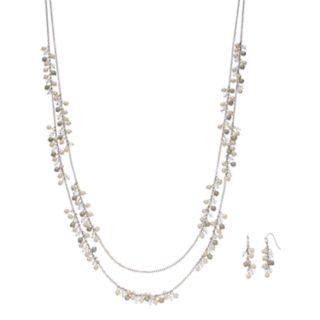 Long Shaky Bead Double Strand Necklace & Linear Earring Set