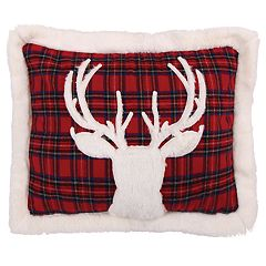 Levtex Lodge Red Plaid Faux Fur Deer Oblong Throw Pillow
