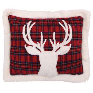 Levtex Lodge Red Plaid Faux Fur Deer Oblong Throw Pillow