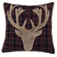 Levtex Lodge Navy Plaid Faux Fur Deer Throw Pillow
