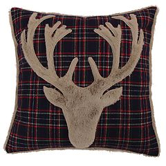 Levtex Lodge Navy Plaid Faux Fur Deer Throw Pillow