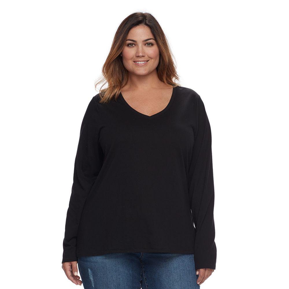 Black t shirts kohls - Plus Size Sonoma Goods For Life Essential V Neck Tee