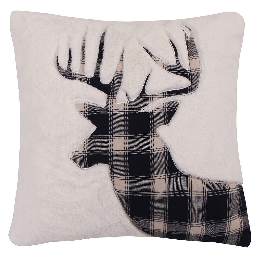 Levtex Lodge Faux Fur Plaid Deer Throw Pillow