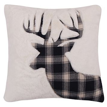 Levtex Lodge Faux Fur Plaid Deer Throw Pillow