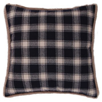 Levtex Lodge Plaid Faux Fur Trim Throw Pillow