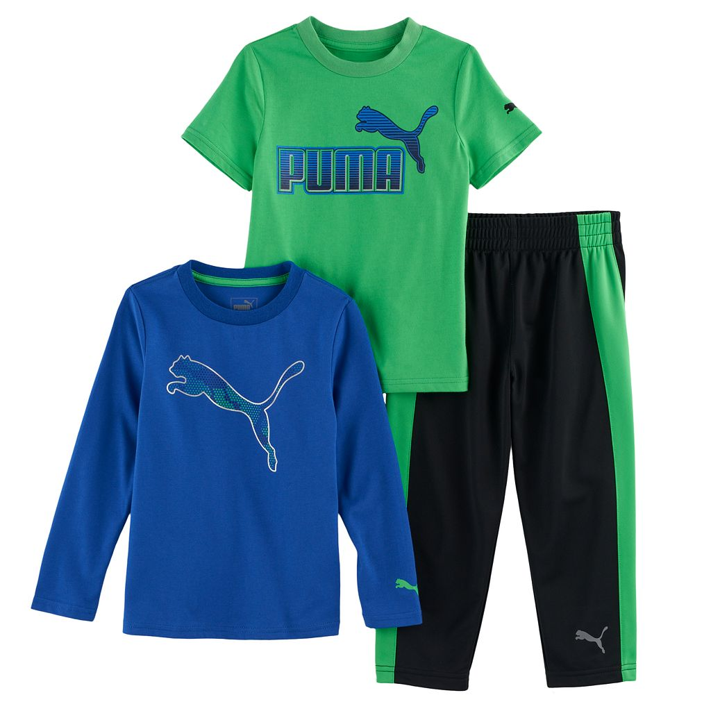 Toddler Boy PUMA Logo Short-Sleeved Tee, Long-Sleeved Tee & Pants Set