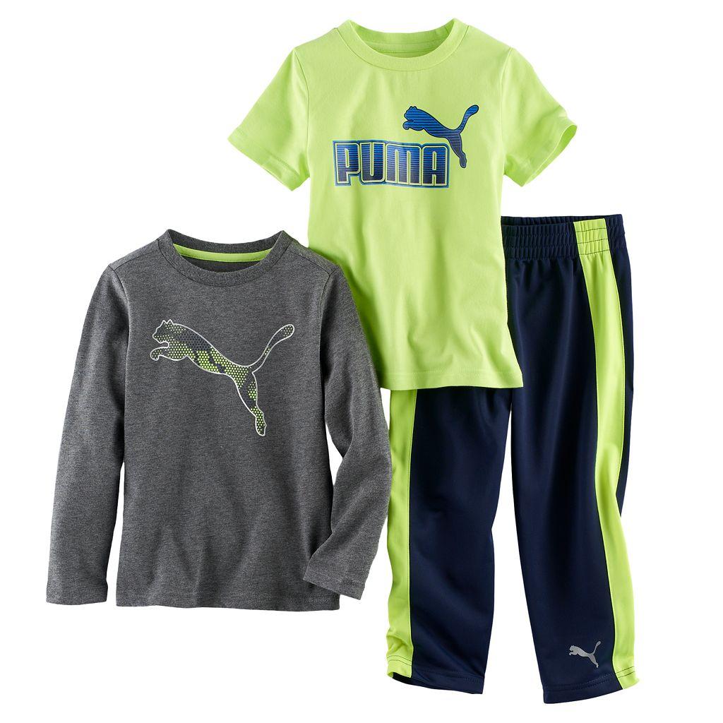 Toddler Boy PUMA Logo Short-Sleeved Tee, Long-Sleeved Tee & Pants Set