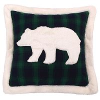 Levtex Lodge Green Plaid Faux Fur Bear Throw Pillow